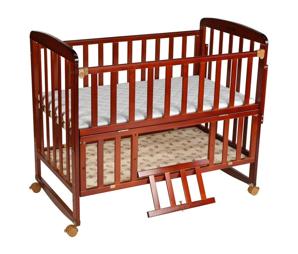 Luvlap-Baby-Multipurpose-Wooden-Cot-with-Mattress