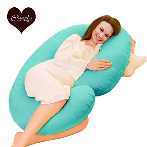 Coozly Cyan C Shaped Pregnancy Pillows With Cotton Zippered Covers, Premium Lyte C7