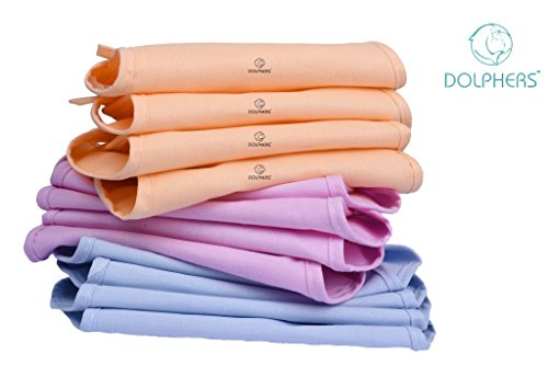 Dolphers Cotton Cloth Double Layer U Shaped Washable and Reusable Nappies for New Born Baby, 0-6 Months (Set of 12 Pieces)