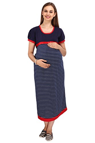 MomToBe Women's Hosiery Maternity Dress, Blue