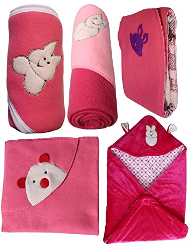 My Newborn Baby Fleece Blanket Gift Set, Hot Pink (Pack of 5)