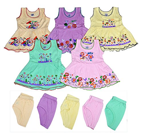 Sathiyas Akash Baby Girls 100% Hosiery Cotton Fancy Dresses (Set of 5 Dresses)(asvinfIC402_1_Multicolour_6 - 12 Months)