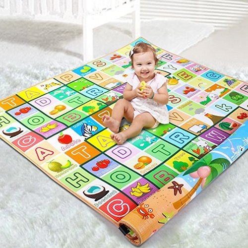 Zofey Double Sided Water Proof Baby Crawl Mat Carpet (Color and Design May Vary, 4x6ft)