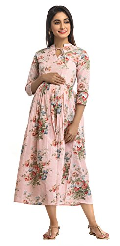 ANAYNA Women's Cotton Floral Printed Long Maternity Dress (HSS-ANY-LD-8D-2017-L, Pink, Large)