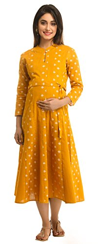 ANAYNA Women's Cotton Maternity Dress (Yellow, Medium)