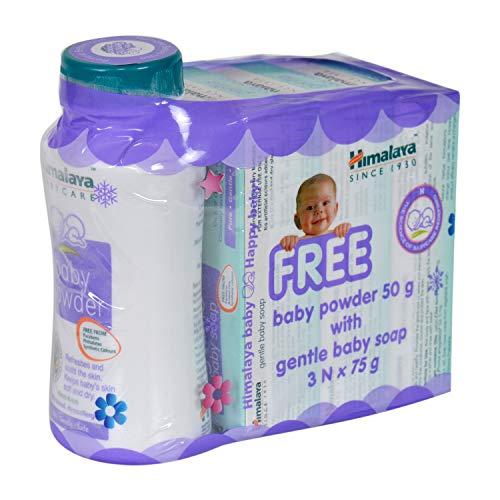 Himalaya Gentle Baby Soap, 3x75g + Baby Powder, 50g Free
