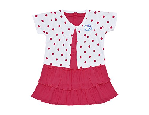 Orange and Orchid Baby Girls Cotton Frock (Pink, 6-12 Months)
