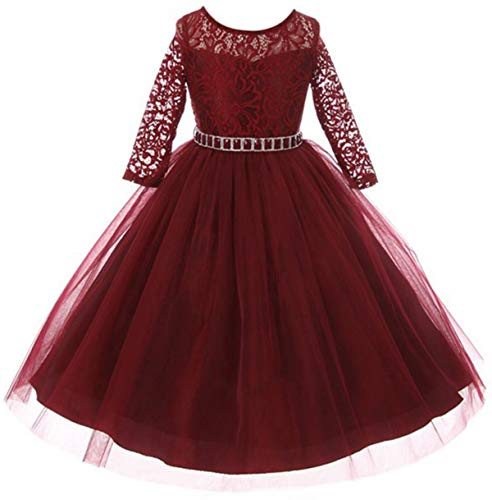 Wish littlle Baby Girls Kids Party Wear Dress Princess Ball Gown for Girl (Mahroon Polyester Flower Net Full Sleeve 1028_10-11years)