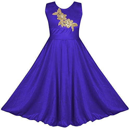 BENKILS Cute Fashion Baby Girl's Bright Satin Lycra Party Wear Frock Dress for (Royal Blue, 4-5 Years)