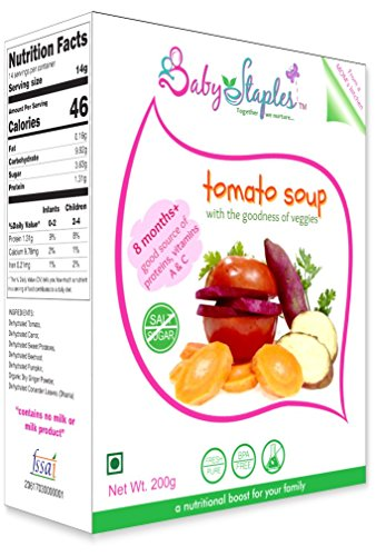 BabyStaples Tomato Soup with Carrot and Beetroot (White), Preservative-free 20 Servings (Pack of 200 g)