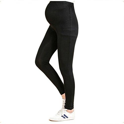 Bold N Elegant Women's Comfortable Maternity Wear Summer Pregnancy Belly Leggings with Adjustable Elastic Waist (Black, Large)