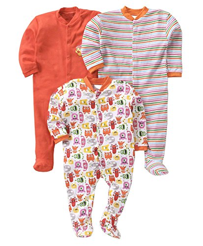 Gopuja New Born Baby Multi-Color Long Sleeve Cotton Sleep Suit Romper for Boys and Girls Set of 3 (Orange, 6-9 Months)