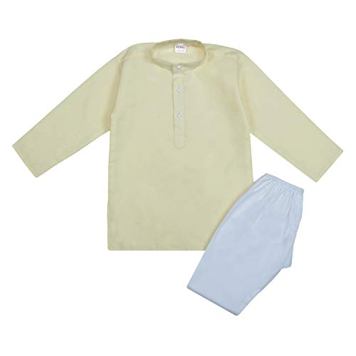 Littly Khadi Style Ethnic Wear Kids Cotton Kurta Pyjama Set for Baby Boys (3-6 Months, Lemon)