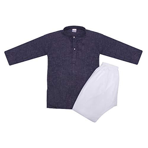Littly Khadi Style Ethnic Wear Kids Cotton Kurta Pyjama Set for Baby Boys (9-10 Years, Dark Blue)