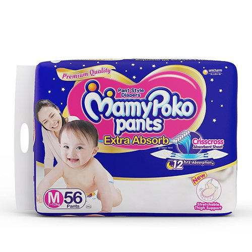 Mamy Poko Extra Absorb Medium Size Baby Diapers (56 count)