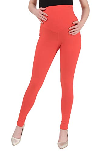 MomToBe Women's Lycra Maternity Leggings, Peach