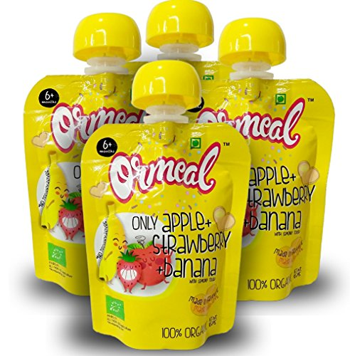 Ormeal 100% Organic Baby Food Puree Fruit for 6 Months + Baby, EU Certified, Onle Apple + Strawberry + Banana Mix Fruit (Pack of 4)