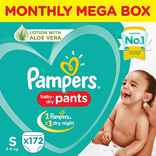 Pampers Small Size Diaper Pants Monthly Box Pack, 172 Count