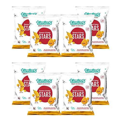 Timios Banana And Honey Stars | Healthy Snacks for Kids | Natural Energy Food Product for Toddlers | Party Snack for School Children 2+ Years Pack of 8