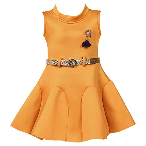 Wish Karo Baby Girls Japan Satin Party Wear Frock Dress - (fe2438ynw_12-18 Months_Yellow)