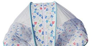 Amardeep and Co Toddler Mattress with Mosquito Net Teddy (Blue) - MT-01-BLUE-BEAR