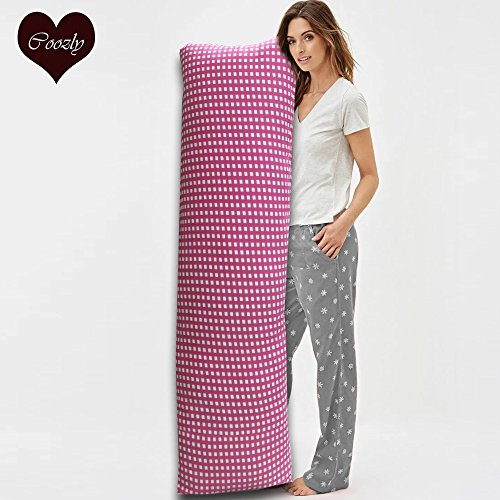 Coozly Premium Lumbar Body Pillow | Arm Curl Pillow | Back Support Pillow | Pregnancy Pillow with Cover (Blush, Full Premium)