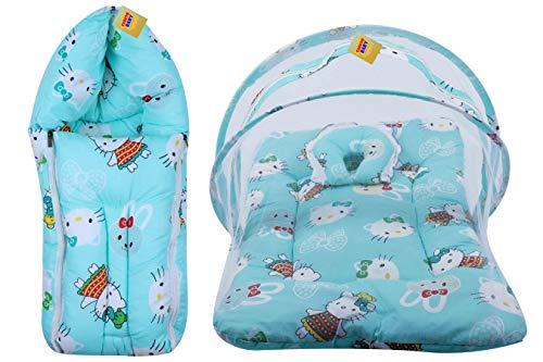 FARETO New Born Baby Teddy Print Mattress with Mosquito Net & Sleeping Bag Combo (0-6 Months) (Pista Green)