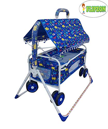 Flipzon New Born Baby Cradle Cot and Stroller with Mosquito Net/Baby Comfort Jhula/Bassinet (J16) (Blue)