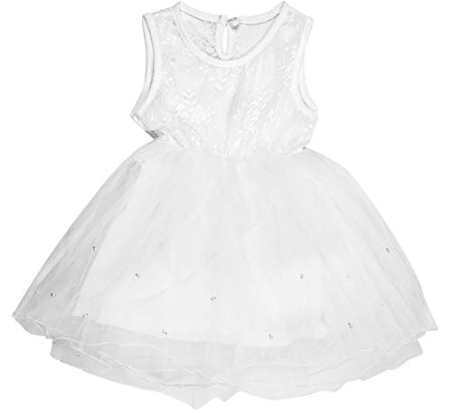 ICABLE Infant Baby Kids Girls Party Princess Dress, Sleeveless Frock Clothes Outfits (White, 18-24 Months)
