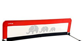 LuvLap Bed Rail Guard for Baby Safety (158.5cm x 42cm) -1 Pc- (Red)