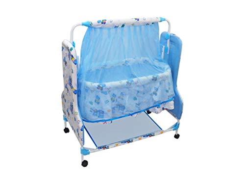 eHomekart Baby Cradle/Palna and Swing Cum Mobile Crib with Mosquito Net and Pillow - Ideal Jhula/Bassinet for New Born Babies/Kids