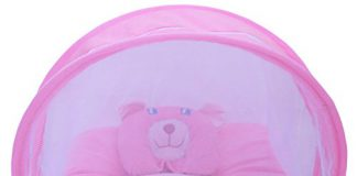 Amardeep and Co Toddler Polyester Mattress With Mosquito Net (Pink)