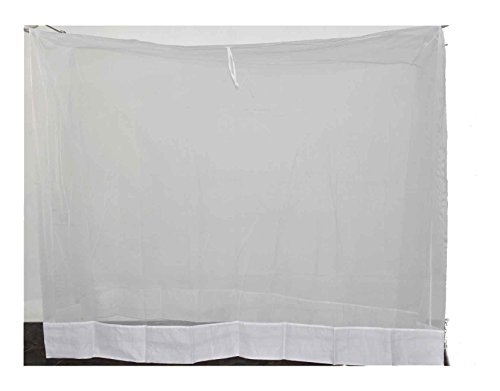 Ans Mosquito net Fine Polycotton net White (6.25x6.5 ft Double Bed) with Pure Cotton Border on Top and Bottom