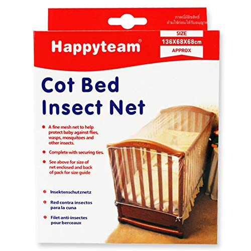 Baby Grow Baby Cot Insect Baby Crib Net 136 x 68 x 68 cm - White with Top Zipper Closer