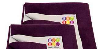 Bey Bee Cotton Dry Sheet for Adults and Elderly Patients (Plum, 100 x140 cm) -Combo Pack of 2