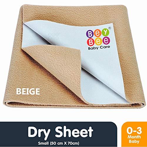 Bey Bee Quick Dry Bed Protector Waterproof Baby Cot Sheet - Small (Beige)