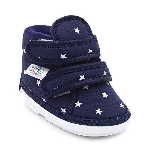 CHiU Unisex Chu with Double Strap Baby Boys & Girls Blue Booties-9-15 Months (C02-Star-Blue-4)