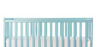 Dream On Me Pine Wood Finish Synergy 5-in-1 Convertible Multipurpose Baby Crib - Aqua Sky
