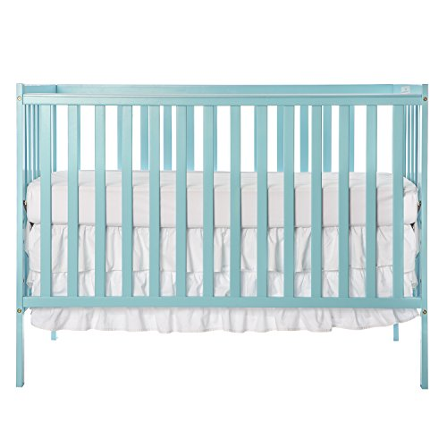 Dream On Me Pine Wood Finish Synergy 5-in-1 Convertible Multipurpose Baby Crib - Aqua Sky