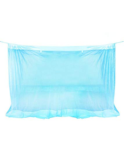 Happy365 Mosquito Net King Size Bed Blue -6x6.5 Feet-Poly Cotton with Pure Cotton Border on Top and Bottom