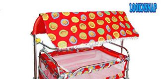 LookNSnap New Born Baby Cradle Cot and Stroller Baggi Jhula/Bassinet (J6) (Red)