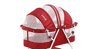 Luvlap Sunshine Baby Bassinet with Wheels (Red)
