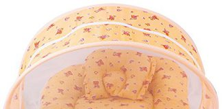 PK Toddler Soft Cotton Mattress with Mosquito Net and Bed (Peach and Orange, Upto 8 Months)
