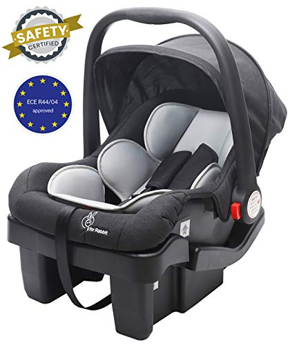 R for Rabbit Picaboo Grand - Infant Car Seat Cum Carry Cot with Base (Black Grey)
