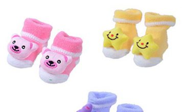 SHOP FRENZY Kids Baby boy and Baby Girl Bootie/Shoes/Socks Set of 3 Pair(0-6 Months) (Yellow Star)