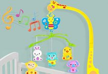 Skyzal Rotating Giraffe Musical Rattle Cot Mobile for Cradle and Bed Jhoomer ( No Batteries Needed)