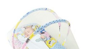 Sunbaby Sleep Bedding Toddler Mattress with Mosquito Insects Proof Net Soft Bed for Baby (0-12 Months)-Blue