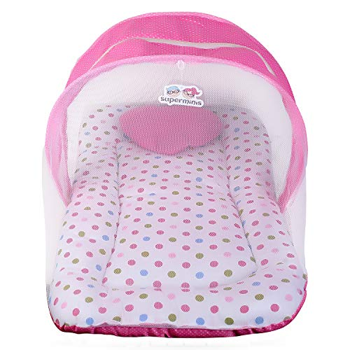 Superminis Multicolor Dot On White Base Design Bedding Set Thick Base, Foldable Mattress, Heart Shape Pillow and Zip Closure Mosquito Net (0-3 Months, Pink)