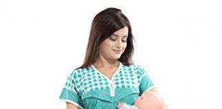 TUCUTE Women's Beautiful Checks Print with Border Feeding/Maternity/Nursing Nighty/Nightwear. (Green-2418)