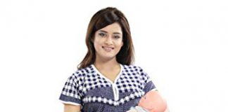 TUCUTE Women's Beautiful Checks Print with Border Feeding/Maternity/Nursing Nighty/Nightwear. (Navy Blue-2420)